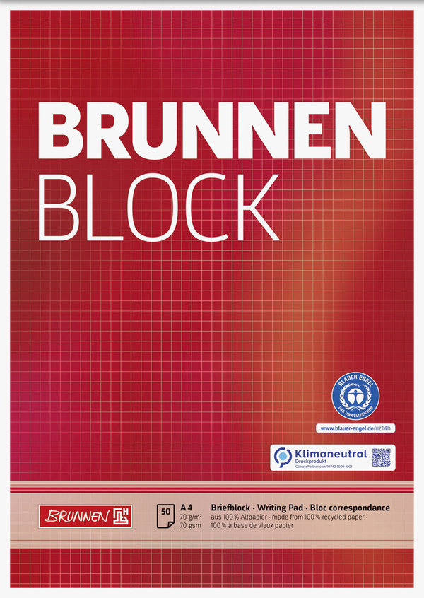 BRUNNEN 105261801 | Block A4 | kariert | Recycling