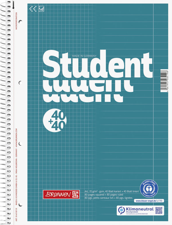 BRUNNEN 106781701 | Collegeblock Duo Recycling | A4 | kariert/liniert
