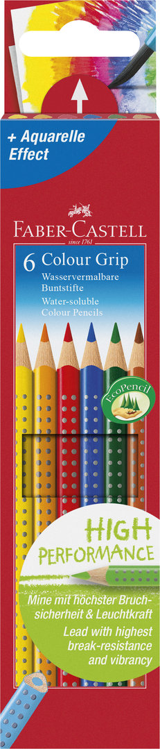FABER CASTELL 112406 | Holzfarbstift Colour Grip 6er Etui